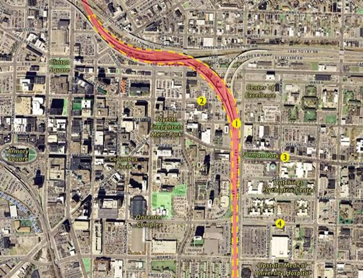 syracuse I-81 viaduct study map
