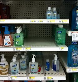 target hand sanitizer shelf