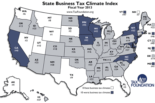 tax foundation state business climate ranks fy 2013