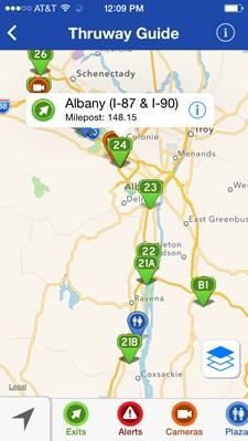 ny thruway guide app screenshot