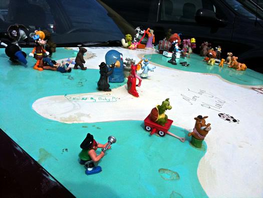 toy art car hood closeup