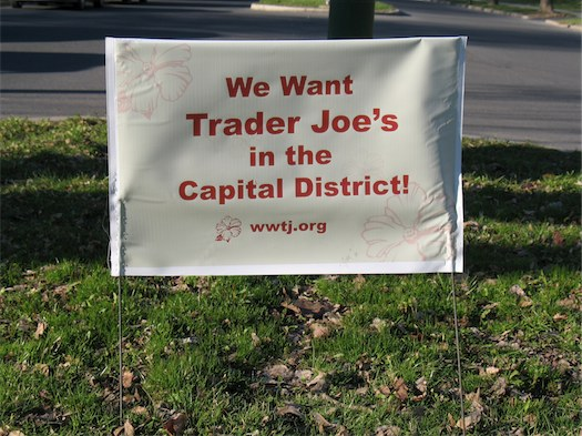 we want trader joe's yard sign