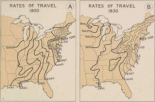 travel times from NYC 1800 and 1830
