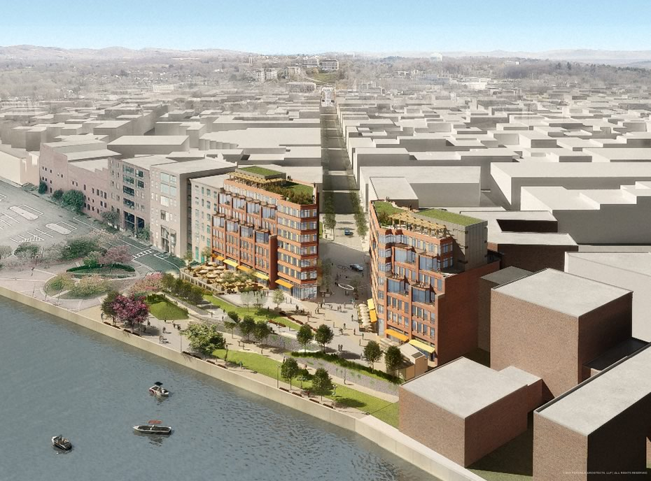 troy city center rendering from river large