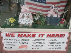 troy pork store window pigs