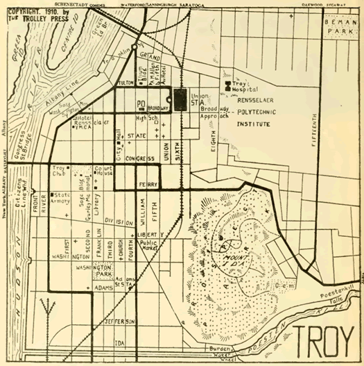 troy trolley map 1911