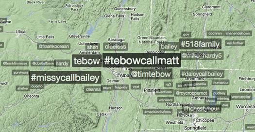 twitter trendsmap Albany tebowcallmatt