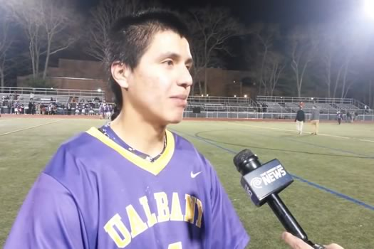 ualbany lacrosse lyle thompson sets points record