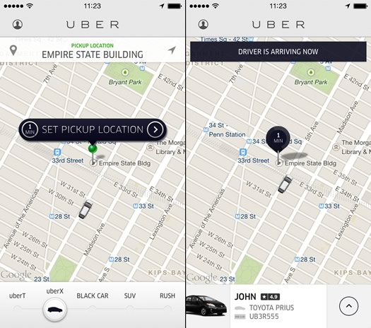 uber app sample screenshots
