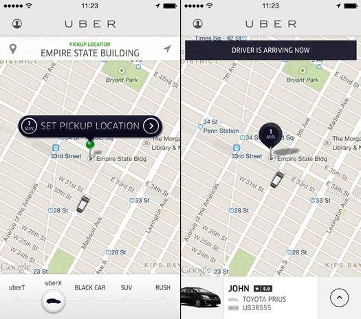 uber app sample screenshots
