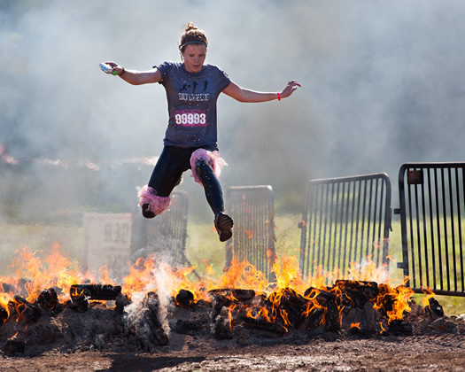 warrior dash jump over fire