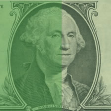 washington dollar bill green shade