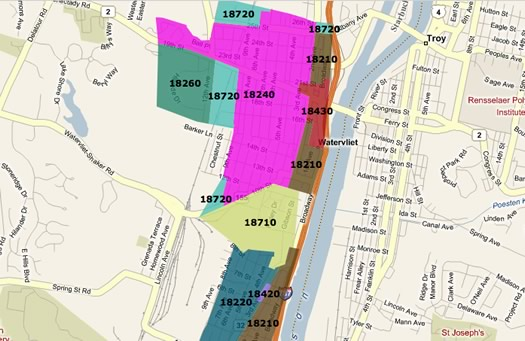 watervliet interactive map screengrab
