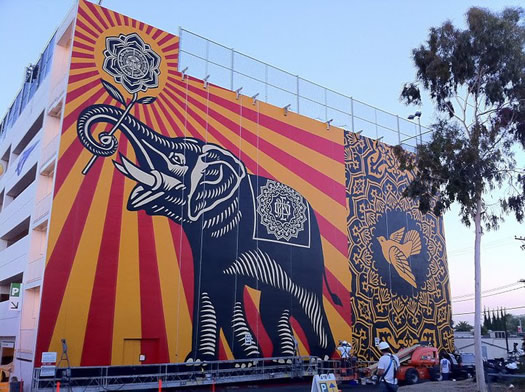 west hollywood library parking garage obeygiant mural