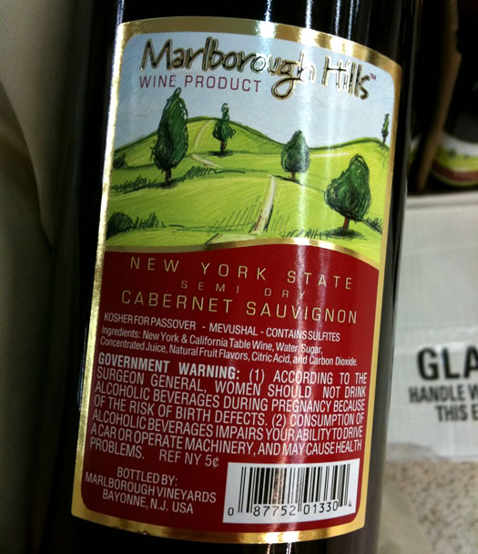 wine product at walmart label