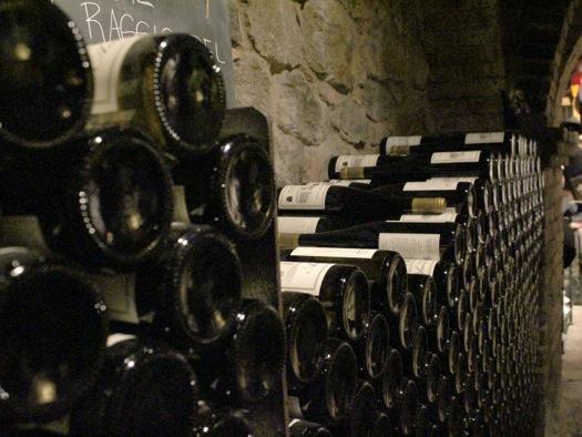 wine touring stacks of wine bottles