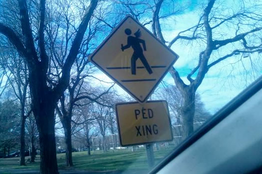 winged pedestrian sign ualbany